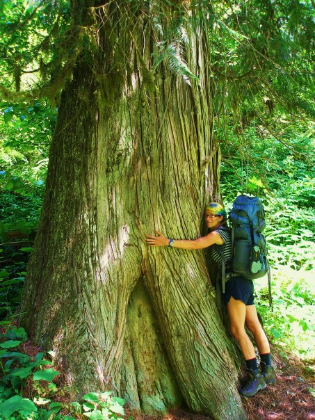 Annie and a very large cedar. I miss them both dearly.